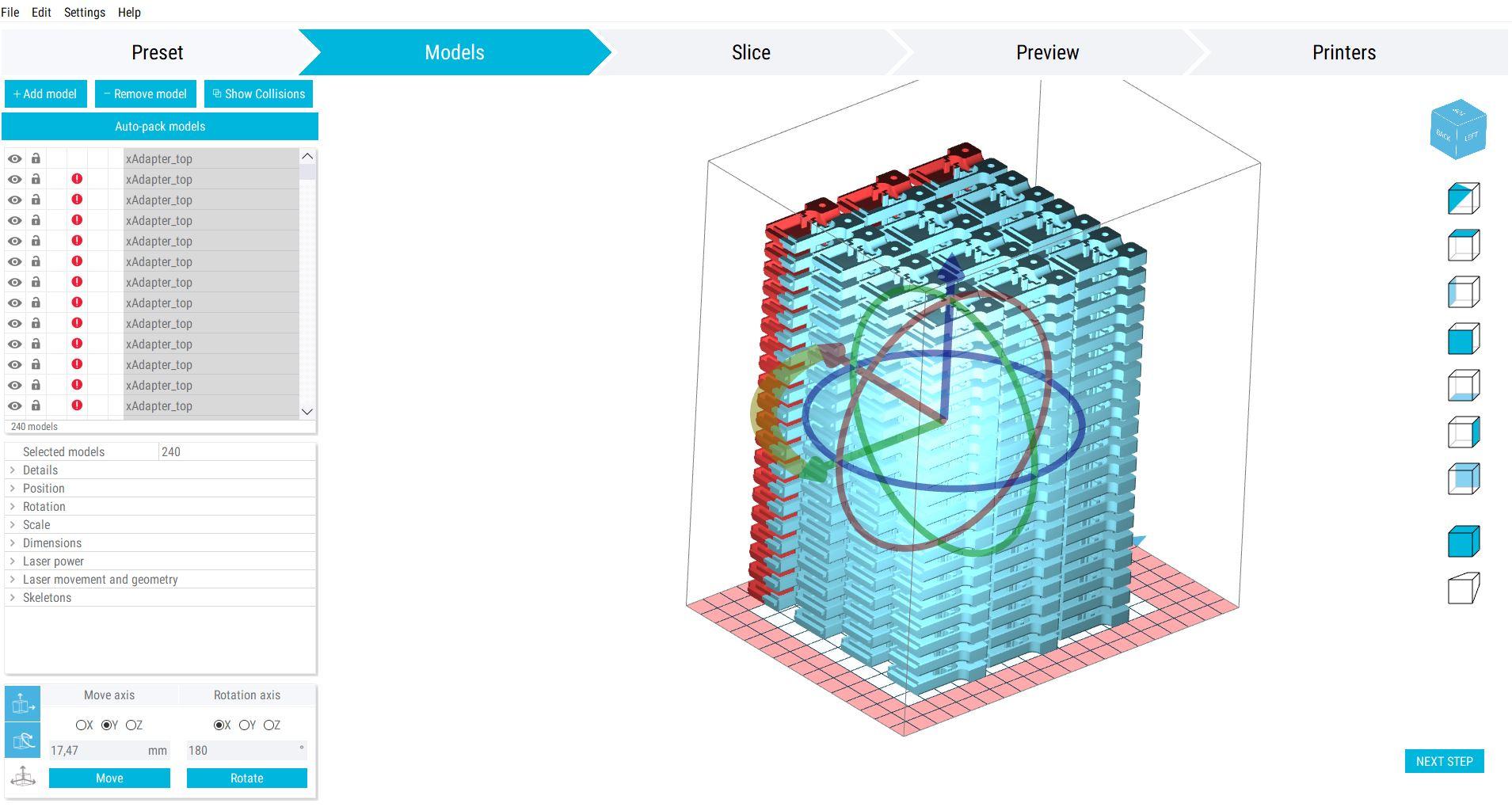 Screenshot der Bauteilplatzierung in Sinterit Studio 2019